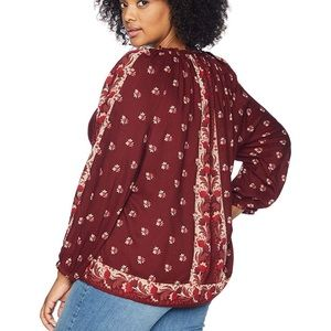 Lucky brand border print boho peasant top